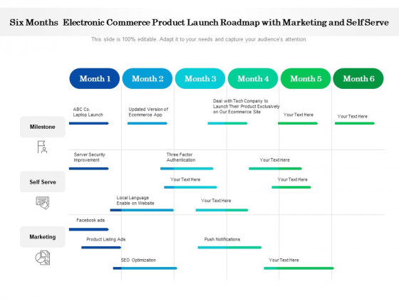 Six Months Electronic Commerce Product Launch Roadmap With Marketing And Self Serve Diagrams