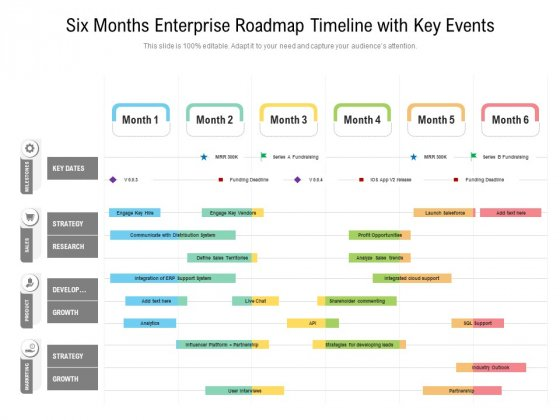 Six_Months_Enterprise_Roadmap_Timeline_With_Key_Events_Icons_Slide_1