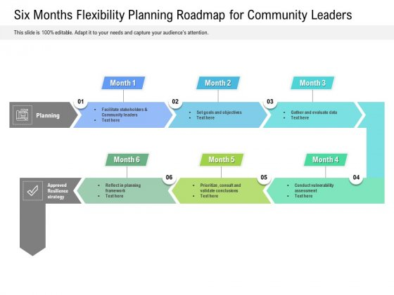 Six Months Flexibility Planning Roadmap For Community Leaders Summary