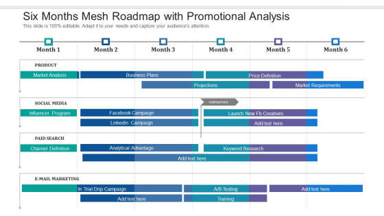 Six Months Mesh Roadmap With Promotional Analysis Ideas