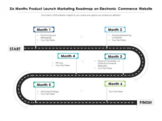 Six Months Product Launch Marketing Roadmap On Electronic Commerce Website Graphics
