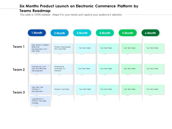 Six Months Product Launch On Electronic Commerce Platform By Teams Roadmap Slides