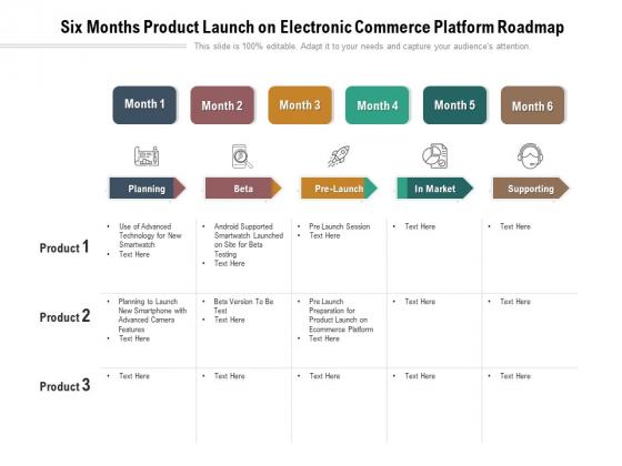 Six Months Product Launch On Electronic Commerce Platform Roadmap Portrait