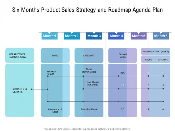 Six Months Product Sales Strategy And Roadmap Agenda Plan Introduction