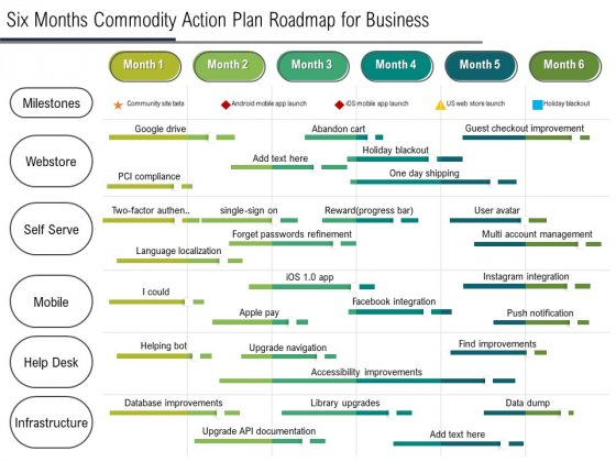 Six Months Product Strategy Roadmap For Business Summary