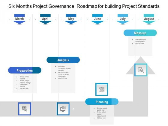 Six Months Project Governance Roadmap For Building Project Standards Clipart
