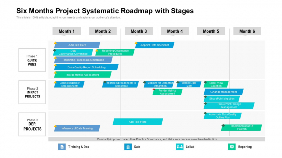Six_Months_Project_Systematic_Roadmap_With_Stages_Themes_Slide_1
