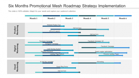 Six Months Promotional Mesh Roadmap Strategy Implementation Infographics