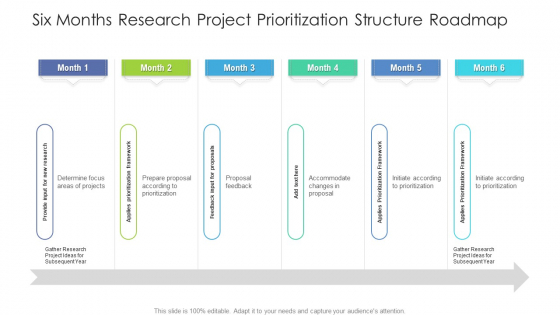 Six Months Research Project Prioritization Structure Roadmap Infographics