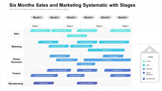Six Months Sales And Marketing Systematic With Stages Structure