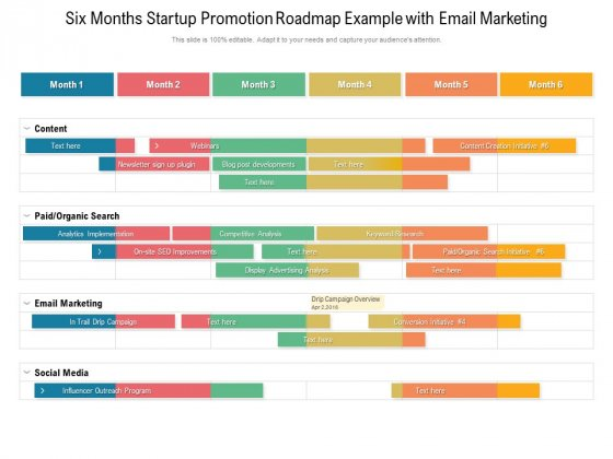 Six Months Startup Promotion Roadmap Example With Email Marketing Designs