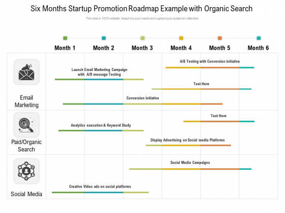Six Months Startup Promotion Roadmap Example With Organic Search Professional