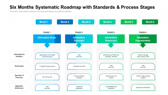 Six Months Systematic Roadmap With Standards And Process Stages Brochure