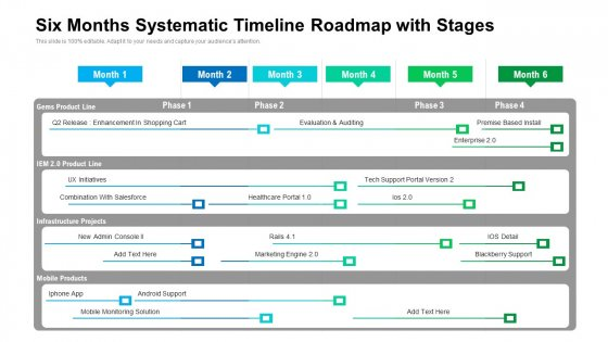 Six Months Systematic Timeline Roadmap With Stages Demonstration