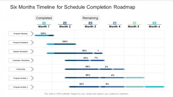Six_Months_Timeline_For_Schedule_Completion_Roadmap_Introduction_Slide_1
