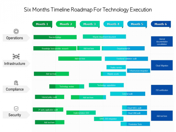 Six Months Timeline Roadmap For Technology Execution Clipart