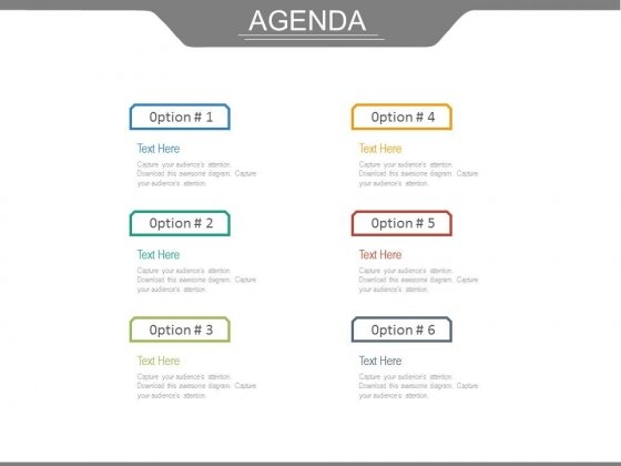 Six Options For Business Agenda Powerpoint Slides