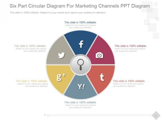 Six Part Circular Diagram For Marketing Channels Ppt PowerPoint Presentation Picture