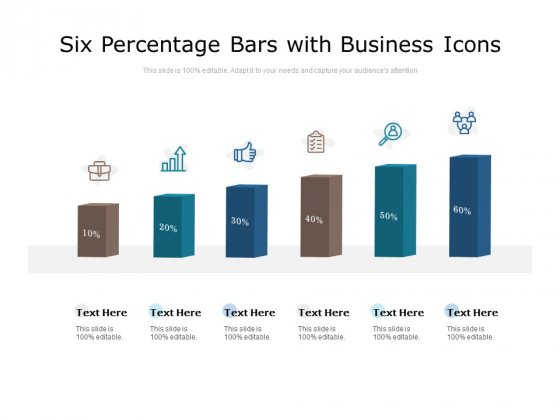 Six Percentage Bars With Business Icons Ppt PowerPoint Presentation File Example