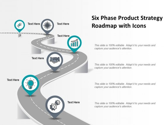 Six Phase Product Strategy Roadmap With Icons Ppt PowerPoint Presentation Styles Display