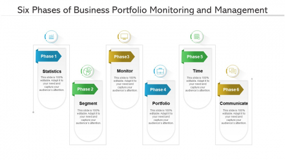 Six Phases Of Business Portfolio Monitoring And Management Ppt PowerPoint Presentation Gallery Inspiration PDF
