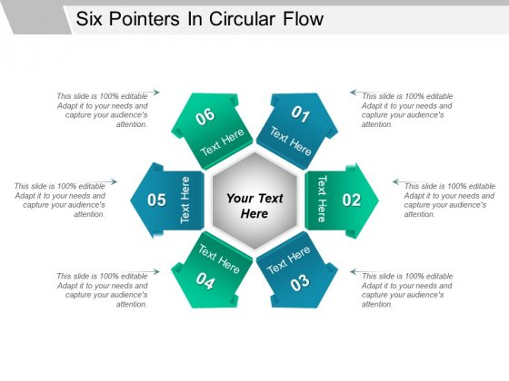 Six Pointers In Circular Flow Ppt PowerPoint Presentation Summary Shapes