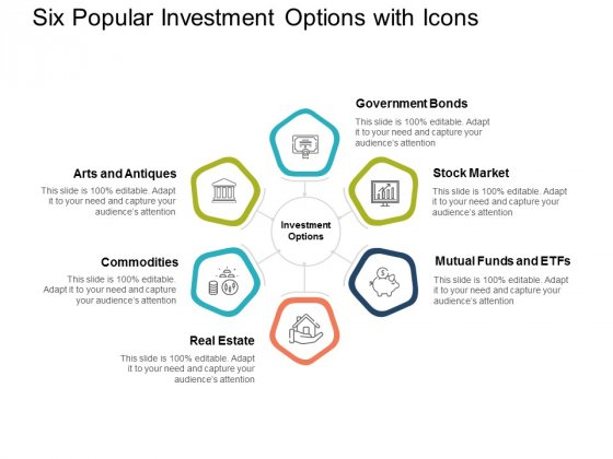 Six Popular Investment Options With Icons Ppt PowerPoint Presentation Pictures File Formats