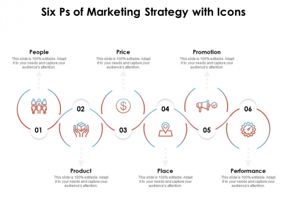 Six Ps Of Marketing Strategy With Icons Ppt PowerPoint Presentation Icon Layout