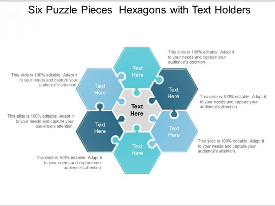 Six Puzzle Pieces Hexagons With Text Holders Ppt Powerpoint Presentation Infographics Show