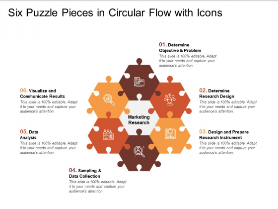 Six Puzzle Pieces In Circular Flow With Icons Ppt PowerPoint Presentation Icon Influencers