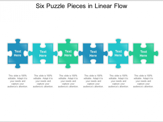 Six Puzzle Pieces In Linear Flow Ppt Powerpoint Presentation Gallery Samples