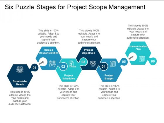 Six Puzzle Stages For Project Scope Management Ppt PowerPoint Presentation Layouts Topics