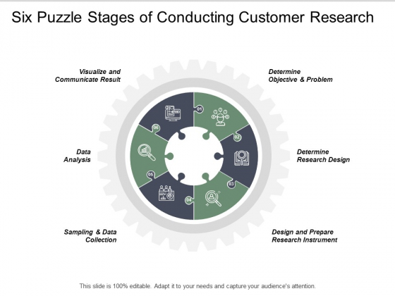 Six Puzzle Stages Of Conducting Customer Research Ppt PowerPoint Presentation Summary Designs Download