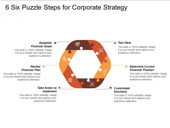 Six Puzzle Steps For Corporate Strategy Ppt PowerPoint Presentation Styles Slides
