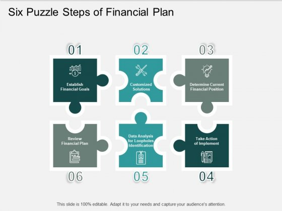 Six Puzzle Steps Of Financial Plan Ppt PowerPoint Presentation Portfolio Visuals