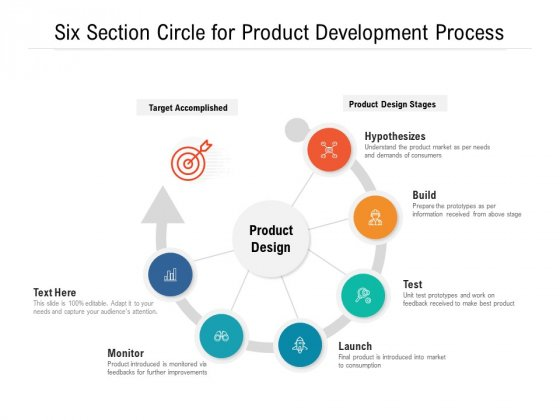 Six Section Circle For Product Development Process Ppt PowerPoint Presentation File Slide Download PDF
