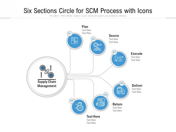 Six Sections Circle For SCM Process With Icons Ppt PowerPoint Presentation Diagram Templates PDF
