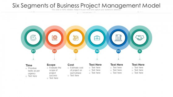 Six Segments Of Business Project Management Model Ppt PowerPoint Presentation File Inspiration PDF