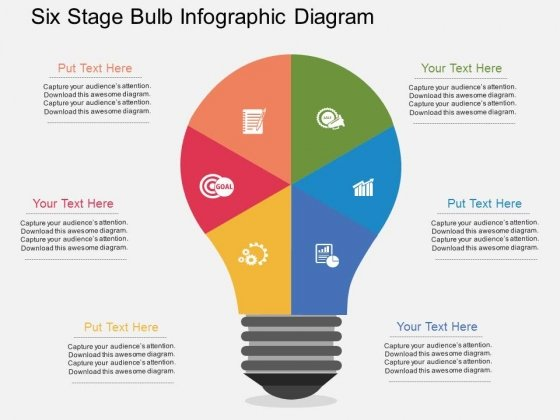 Six Stage Bulb Infographic Diagram Powerpoint Templates