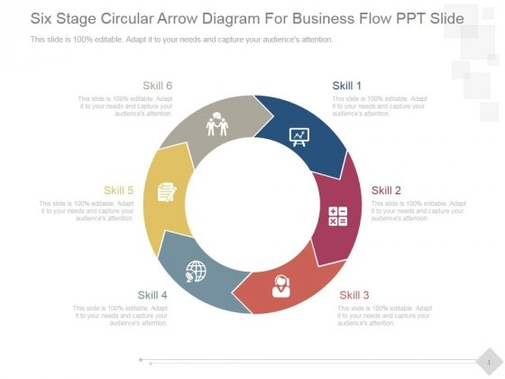 Six Stage Circular Arrow Diagram For Business Flow Ppt PowerPoint Presentation Example