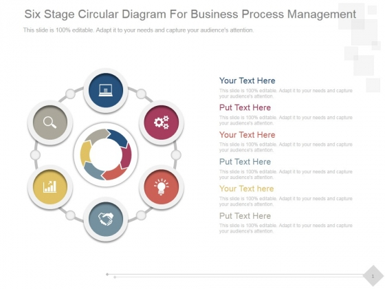 Six Stage Circular Diagram For Business Process Management Ppt PowerPoint Presentation Template
