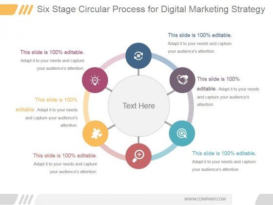 Six Stage Circular Process For Digital Marketing Strategy Ppt PowerPoint Presentation Deck
