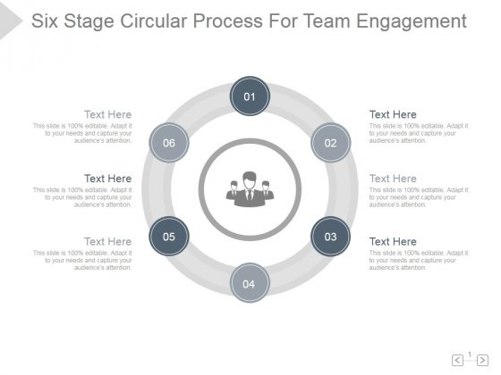 Six Stage Circular Process For Team Engagement Ppt PowerPoint Presentation Slide