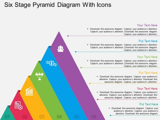 Six Stage Pyramid Diagram With Icons Powerpoint Templates