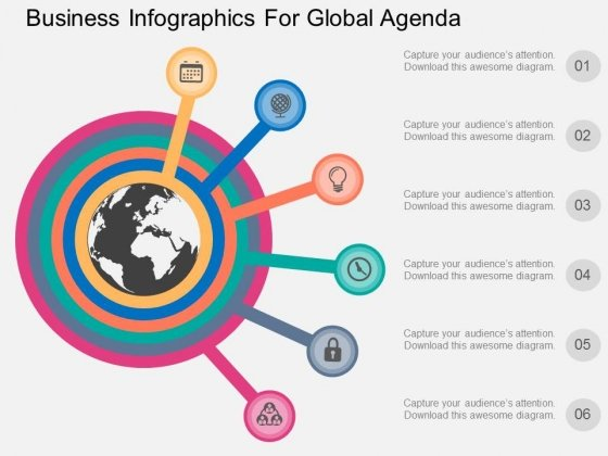 Six Staged Business Infographics For Global Agenda Powerpoint Template