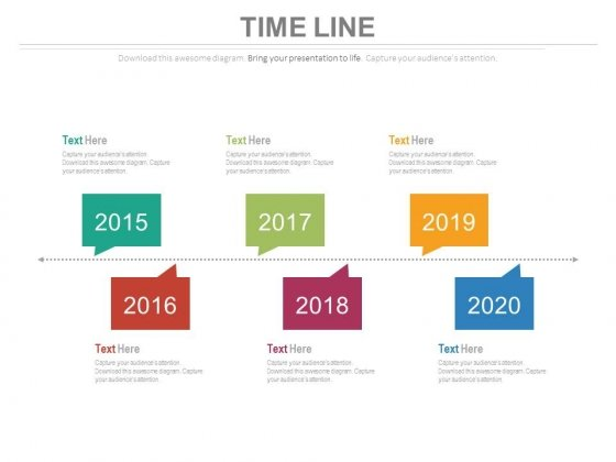 Six Staged Linear Year Based Timeline Powerpoint Slides