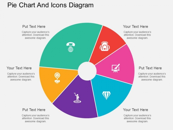 Pie chart powerpoint templates slides and graphics six staged pie chart and icons diagram powerpoint template toneelgroepblik Images
