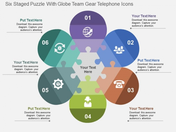 Six Staged Puzzle With Globe Team Gear Telephone Icons Powerpoint Templates