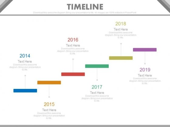 Six Staged Stair Design Timeline For Business Powerpoint Slides