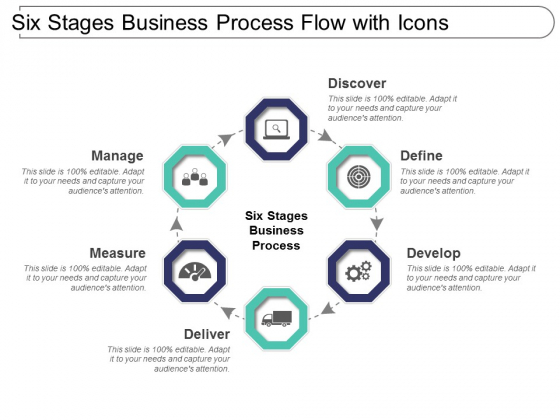 Six Stages Business Process Flow With Icons Ppt PowerPoint Presentation Infographic Template Influencers